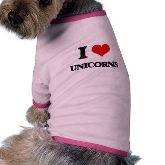 Amo unicornios camiseta con mangas para perro