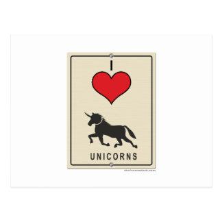 Amo unicornios postal