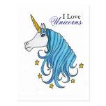 Amo unicornios tarjetas postales