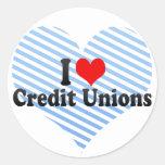 Amo uniones de crédito etiquetas redondas