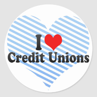 Amo uniones de crédito pegatina redonda