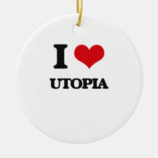 Amo Utopía Adorno Navideño Redondo De Cerámica