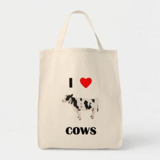 Amo vacas bolsa tela para la compra