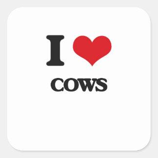 Amo vacas pegatina cuadrada