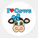 Amo vacas pegatina redonda