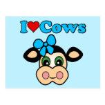 Amo vacas tarjetas postales
