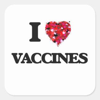 Amo vacunas pegatina cuadrada
