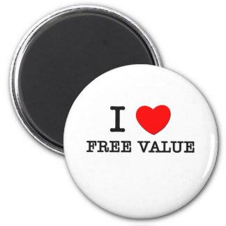 Amo valor libre imán redondo 5 cm