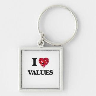 Amo valores llavero cuadrado plateado
