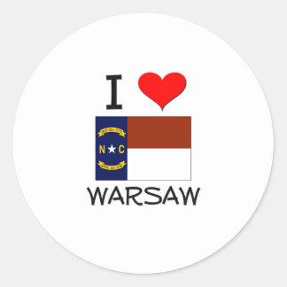 Amo Varsovia Carolina del Norte Pegatina Redonda