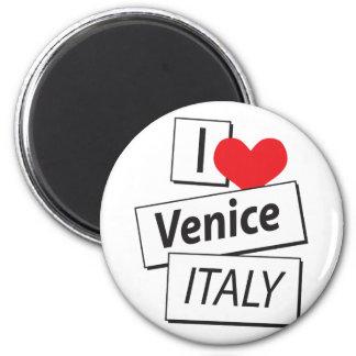 Amo Venecia Italia Imán Redondo 5 Cm