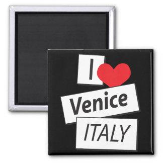 Amo Venecia Italia Imán Cuadrado