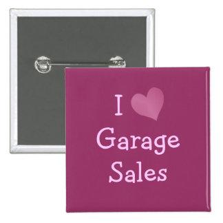Amo ventas de garaje pin cuadrado
