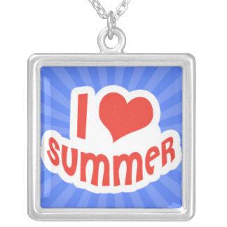 Amo verano en Sunrays azules Colgante Cuadrado