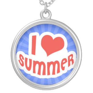 Amo verano en Sunrays azules Colgante Redondo