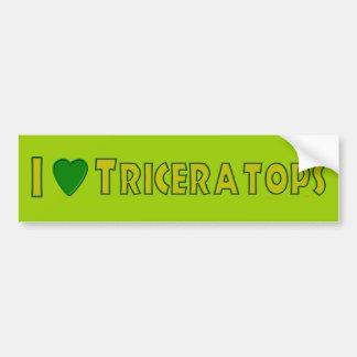 Amo verde de los amantes del dinosaurio del Tricer Pegatina Para Auto