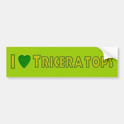 Amo verde de los amantes del dinosaurio del Tricer Etiqueta De Parachoque