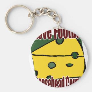 Amo verde del fútbol y el país de Cheesehead del o Llavero Redondo Tipo Pin