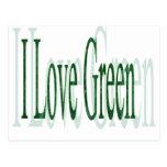 Amo verde tarjetas postales