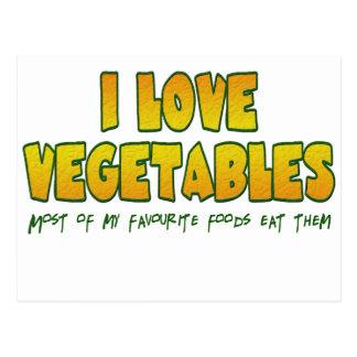 Amo verduras tarjeta postal