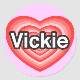 Amo Vickie. Te amo Vickie. Corazón Pegatina Redonda