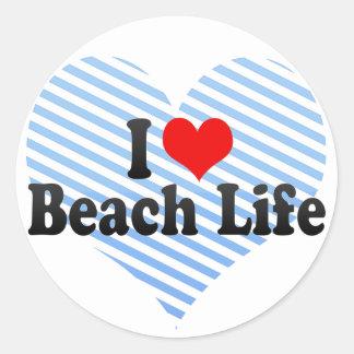 Amo vida de la playa pegatinas redondas