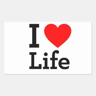 Amo vida rectangular pegatinas