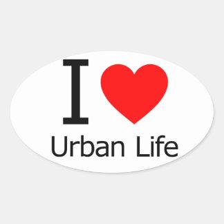 Amo vida urbana calcomanía óval