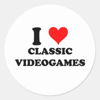 Amo videojuegos clásicos pegatina redonda