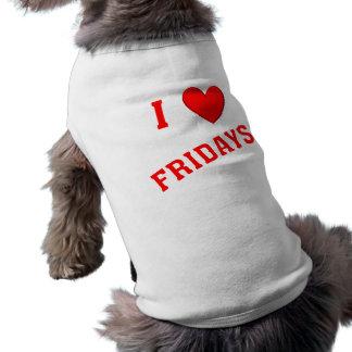 Amo viernes playera sin mangas para perro