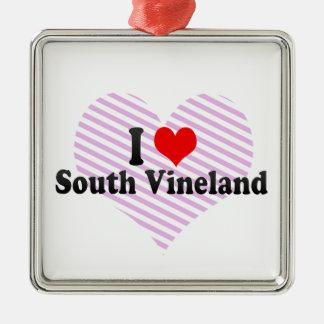 Amo Vineland del sur, Estados Unidos Adorno Cuadrado Plateado