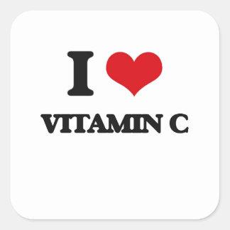 Amo vitamina C Pegatina Cuadrada