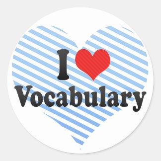 Amo vocabulario pegatina redonda