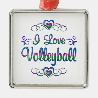 Amo voleibol adorno navideño cuadrado de metal