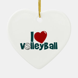 Amo voleibol adorno navideño de cerámica en forma de corazón