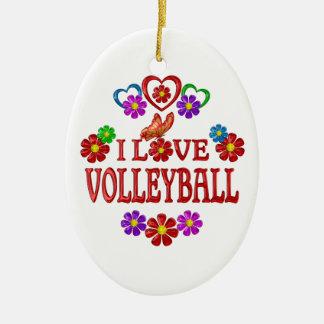 Amo voleibol adorno navideño ovalado de cerámica