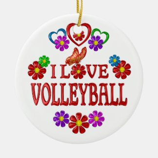 Amo voleibol adorno navideño redondo de cerámica