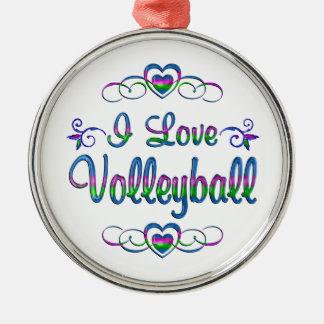 Amo voleibol adorno navideño redondo de metal