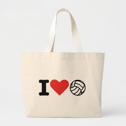 Amo voleibol bolsas lienzo