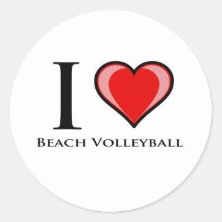 Amo voleibol de playa pegatina redonda