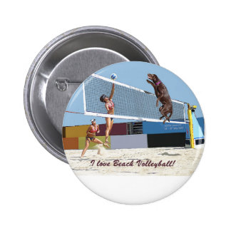 Amo voleibol de playa pin redondo de 2 pulgadas