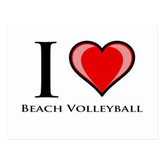 Amo voleibol de playa tarjetas postales