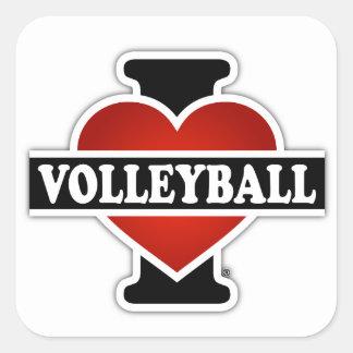 Amo voleibol pegatina cuadrada
