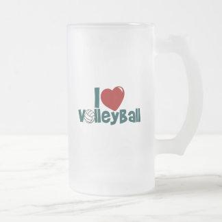 Amo voleibol taza de cristal