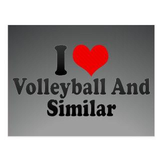 Amo voleibol y similar tarjeta postal