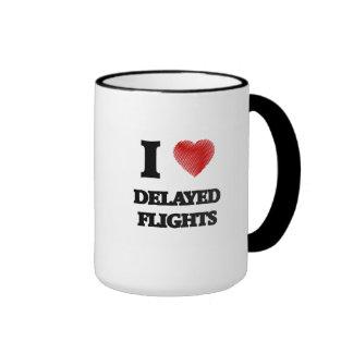 Amo vuelos retrasados taza de dos colores