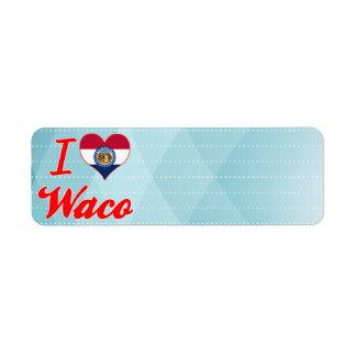 Amo Waco, Missouri Etiqueta De Remite