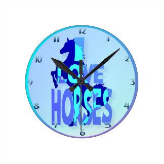 Amo wallclocks de los caballos reloj redondo mediano