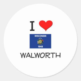 Amo Walworth Wisconsin Pegatina Redonda