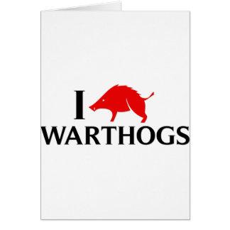 Amo Warthogs Tarjeta De Felicitación